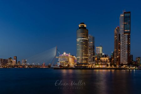Photo: Edwin Muller Wilhelminapier Rotterdam at night, with on of the Aida ships on the quay